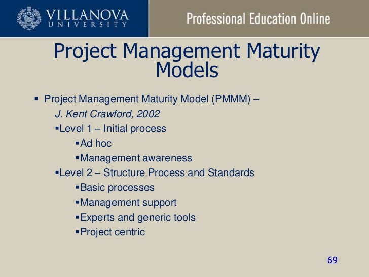project management and maturity model Imsi's project management assessment model is a typical, five -step maturity model (see figure 1), as this form provides a solid foundatio n from which to build imsi does not, however, focus on reaching a maturity rating for a.