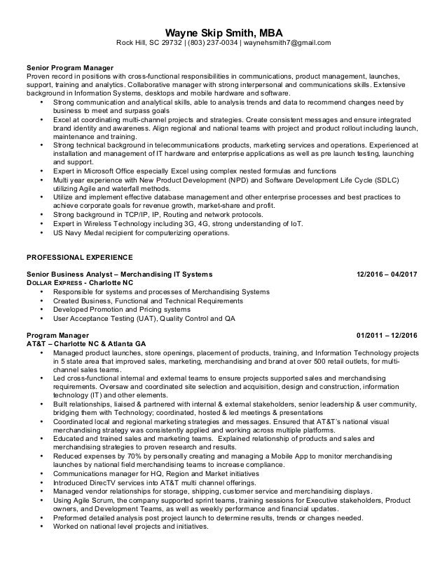 Wayne Skip Smith Senior Business Analyst Resume