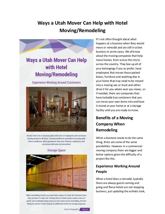 Ways a Utah Mover Can Help with Hotel Moving/Remodeling It's not often thought about what happens at a business when they ...