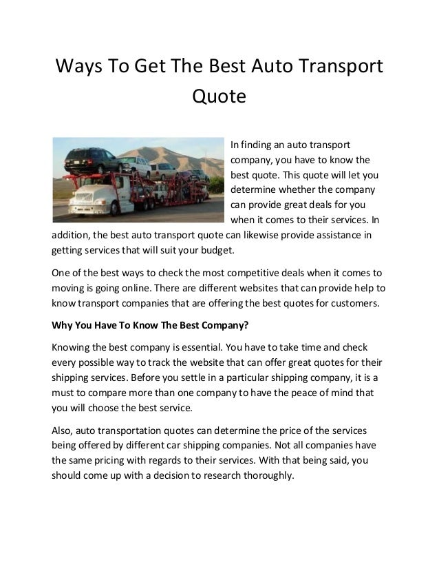 Ways To Get The Best Auto Transport Quote Gorgeous Auto Transport Quote