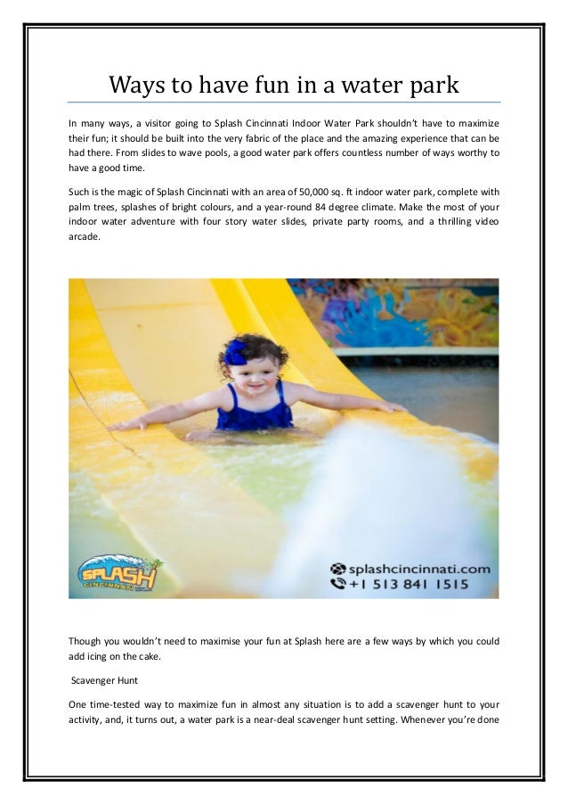 Ways to have fun in a water park