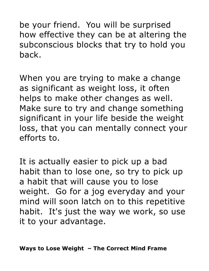 mind frame for weight loss