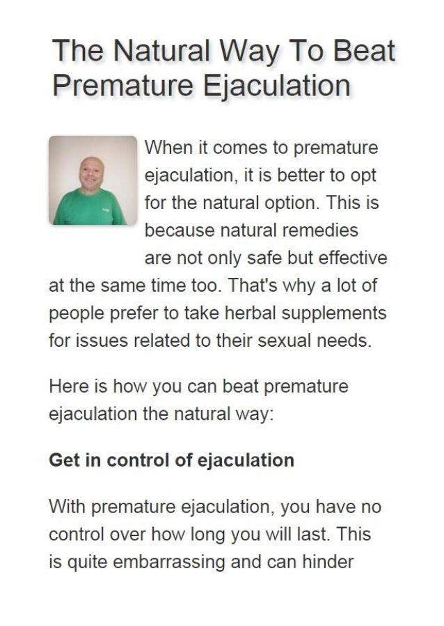 How do i prevent premature ejaculation
