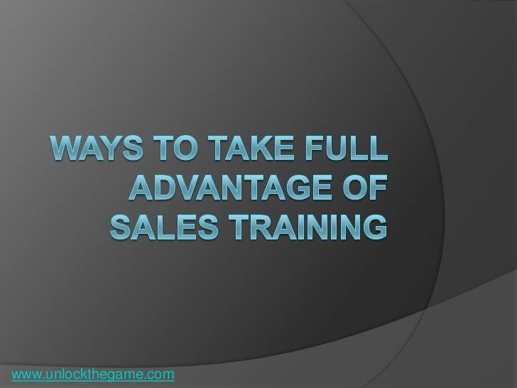 Advantages of sales training