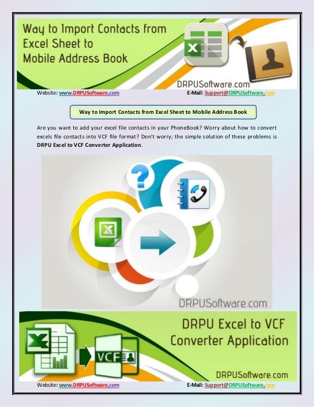 excel sheet to mobile address book website wwwdrpusoftwarecom e mail supportdrpusoftwarecom