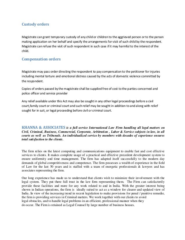 essay on protection of women from domestic violence This is not an example of the work written by our professional essay writers domestic violence on children it was decided to approach an association specifically setupfor women who have suffered domestic violence the protection from harassment act 1997.