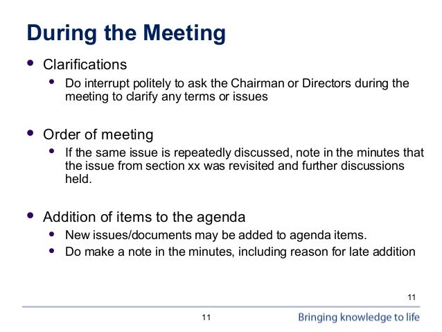 writing minutes for board and committee meetings