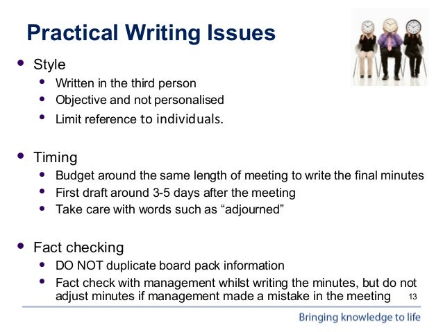 writing minutes for board meetings