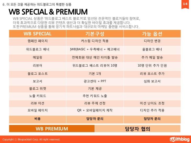 6. 이 모듞 것을 제공하는 위드블로그의 특별한 상품                                                                   14     WB SPECIAL & PREMIU...