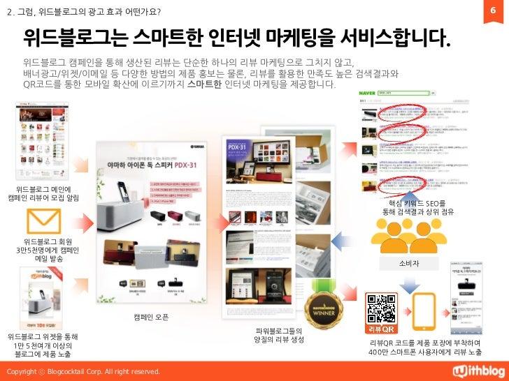 2. 그럼, 위드블로그의 광고 효과 어떤가요?                                                                6     위드블로그는 스마트핚 인터넷 마케팅을 서비스합니다...