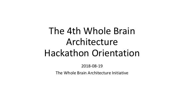 The 4th Whole Brain Architecture Hackathon Orientation 2018-08-19 The Whole Brain Architecture Initiative