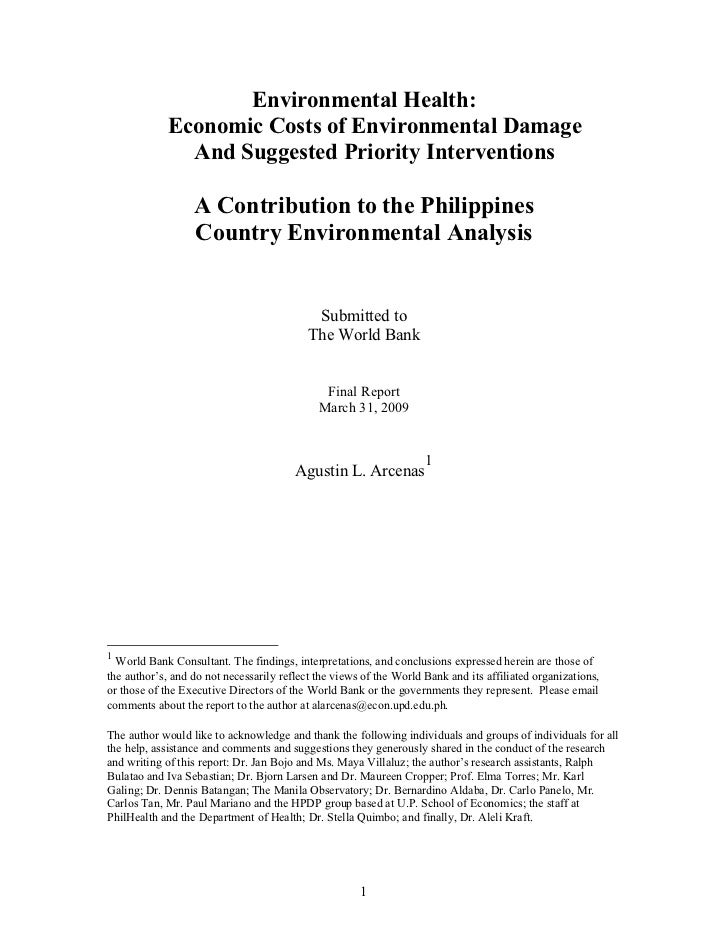 Environmental Health:             Economic Costs of Environmental Damage               And Suggested Priority Intervention...