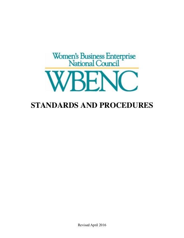 Revised April 2016 STANDARDS AND PROCEDURES