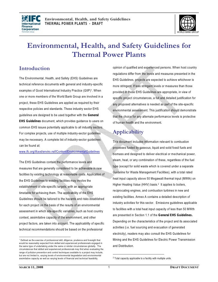 Environmental, Health, and Safety Guidelines                           THERMAL POWER PLANTS - DRAFT                       ...