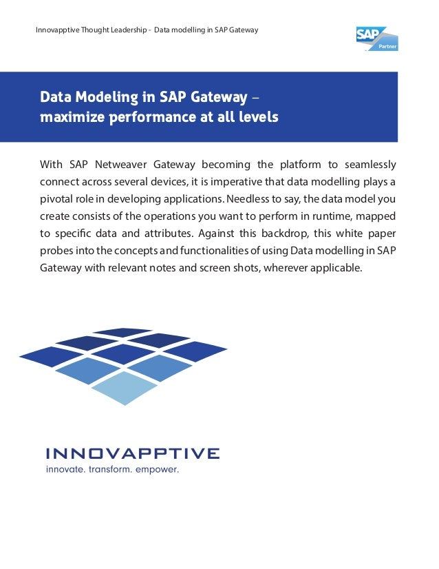 Data Modeling in SAP Gateway – maximize performance at all levels With SAP Netweaver Gateway becoming the platform to seam...