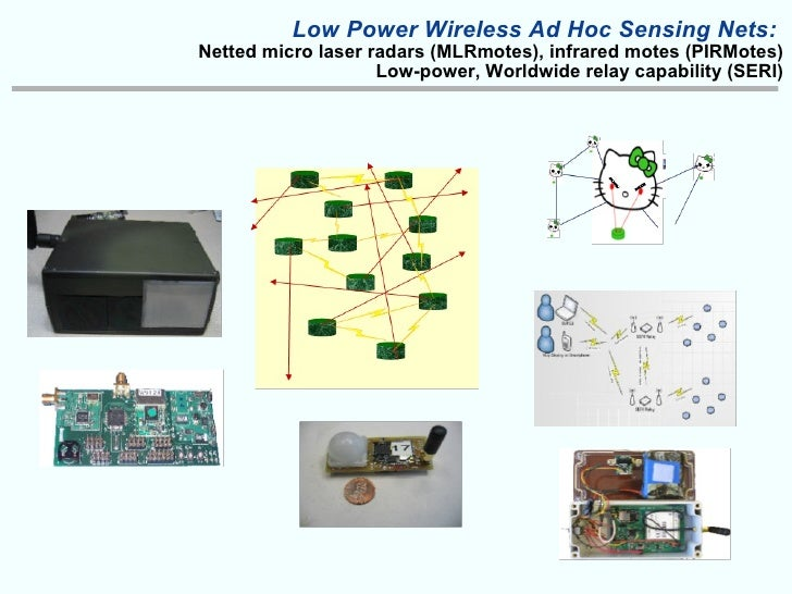 Low Power Wireless Ad Hoc Sensing Nets:  Netted micro laser radars (MLRmotes), infrared motes (PIRMotes) Low-power, Worldw...