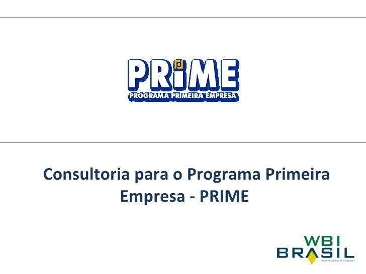 Consultoria para o Programa Primeira Empresa - PRIME