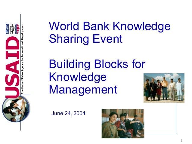 1World Bank KnowledgeSharing EventBuilding Blocks forKnowledgeManagementJune 24, 2004