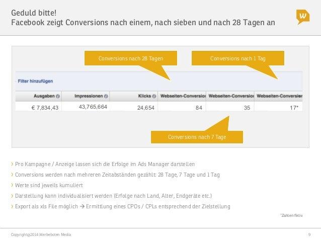 """Copyright@2014 Werbeboten Media  9 Geduld bitte! Facebook zeigt Conversions nach einem, nach sieben und nach 28 Tagen an """"..."""