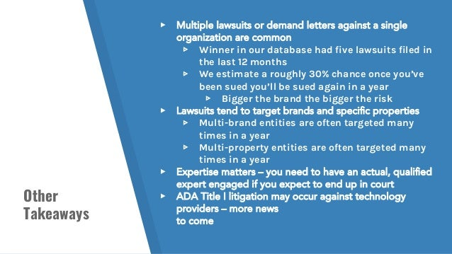 Other Takeaways ▸ Multiple lawsuits or demand letters against a single organization are common ▹ Winner in our database ha...