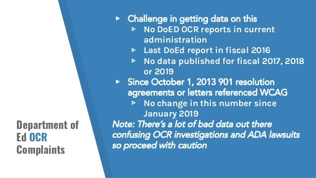 Department of Ed OCR Complaints ▸ Challenge in getting data on this ▹ No DoED OCR reports in current administration ▹ Last...