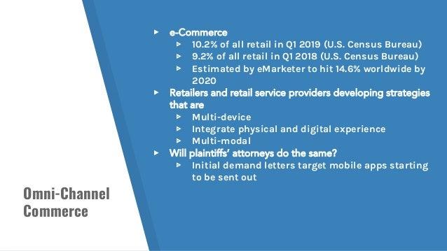 Omni-Channel Commerce ▸ e-Commerce ▹ 10.2% of all retail in Q1 2019 (U.S. Census Bureau) ▹ 9.2% of all retail in Q1 2018 (...