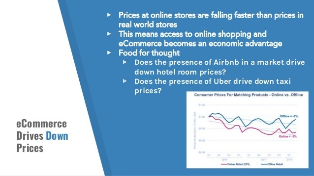 eCommerce Drives Down Prices ▸ Prices at online stores are falling faster than prices in real world stores ▸ This means ac...