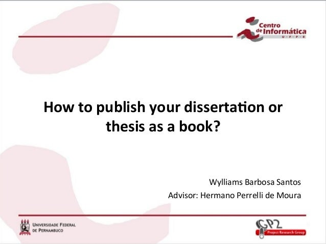 how to publish your phd thesis as a book