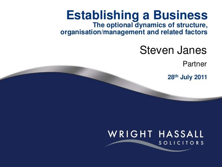 Establishing a BusinessThe optional dynamics of structure, organisation/management and related factors<br />Steven Janes<b...
