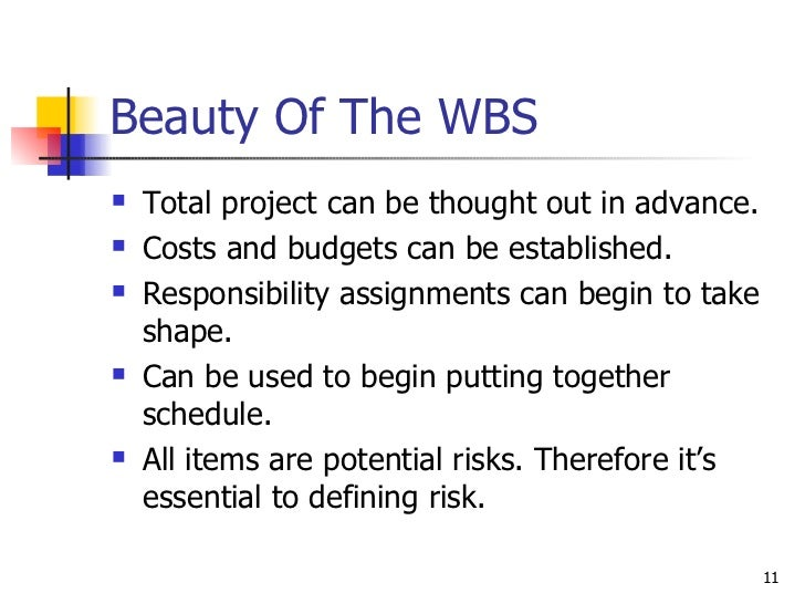 Beauty Of The WBS <ul><li>Total project can be thought out in advance. </li></ul><ul><li>Costs and budgets can be establis...