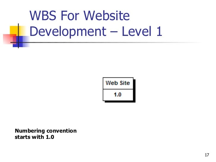 WBS For Website Development – Level 1  Numbering convention starts with 1.0