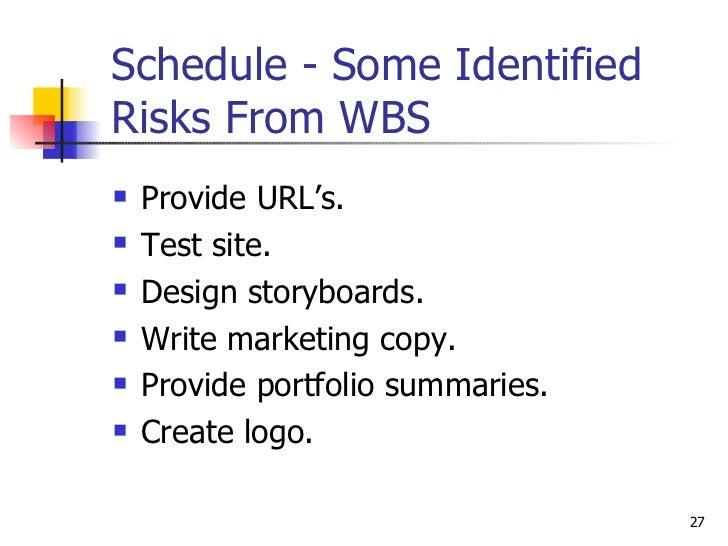 Schedule - Some Identified Risks From WBS <ul><li>Provide URL's. </li></ul><ul><li>Test site. </li></ul><ul><li>Design sto...