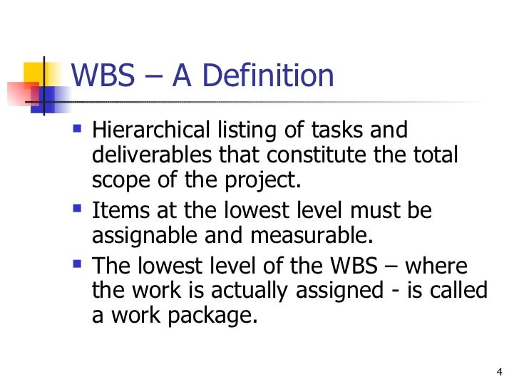 WBS – A Definition <ul><li>Hierarchical listing of tasks and deliverables that constitute the total scope of the project. ...