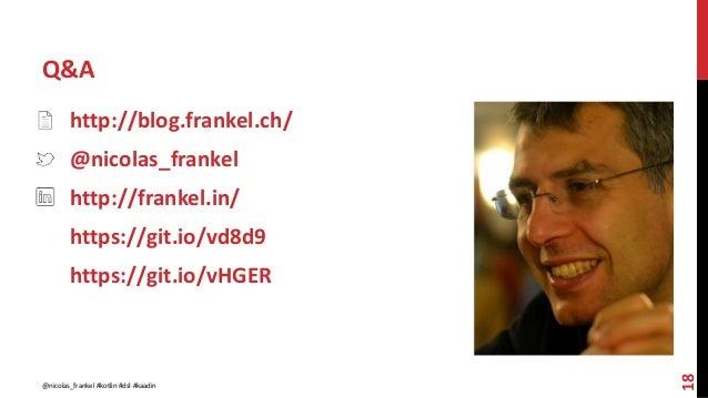 Q&A 18 http://blog.frankel.ch/ @nicolas_frankel http://frankel.in/ https://git.io/vd8d9 https://git.io/vHGER @nicolas_fran...