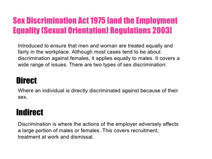Sex discrimination act in employment