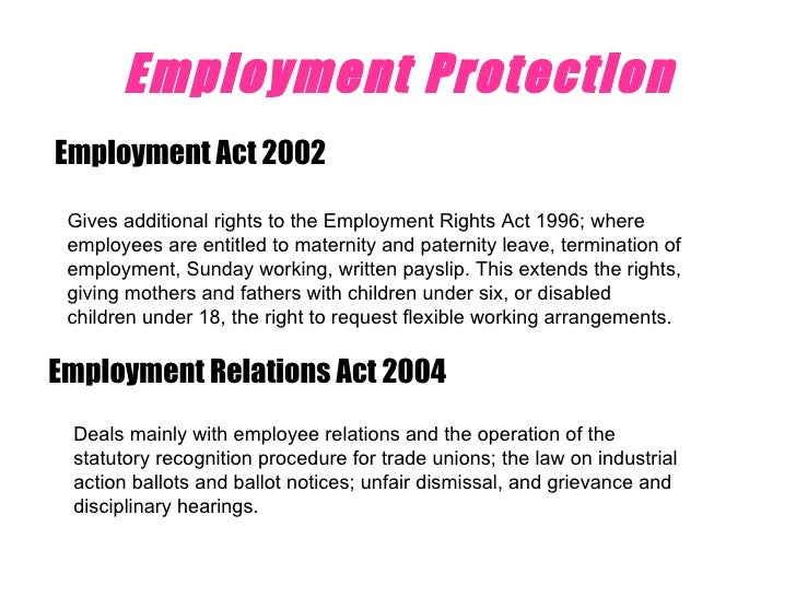 the explanation of the employment rights act 1996 and the race relations act 1979 and the disabitlit The employment rights act 1996 is a united kingdom act of parliament passed by the conservative government to codify existing law on individual rights in uk labour law.