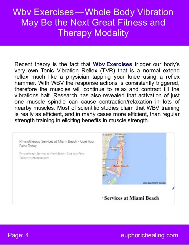Wbv Exercises—Whole Body Vibration May Be the Next Great Fitness and Therapy Modality Page: 4 euphorichealing.com Recent...