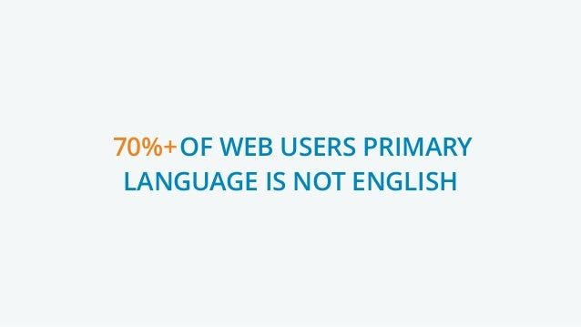 70%+ OF WEB USERS PRIMARY LANGUAGE IS NOT ENGLISH 70%+