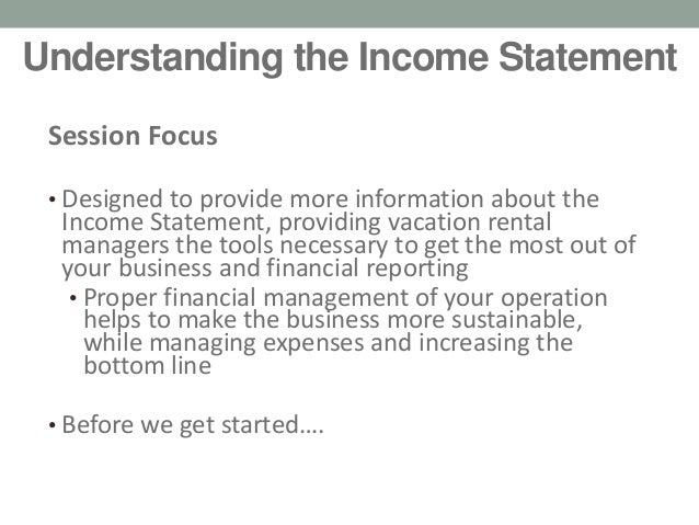 ... Vacation Rental Expo; 3. Understanding The Income Statement ...  Proper Income Statement