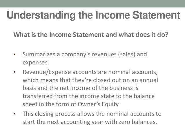 ... Statement U2022Pu0026L; 6. Understanding The Income ...