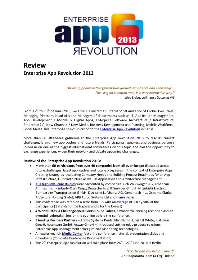 "Review Enterprise App Revolution 2013 ""Bridging people with different background, experience and knowledge – Focusing on c..."