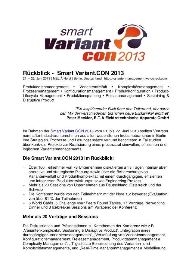Rückblick - Smart Variant.CON 2013 21. – 22. Juni 2013 | MELIÀ Hotel | Berlin, Deutschland | http://variantenmanagement.we...
