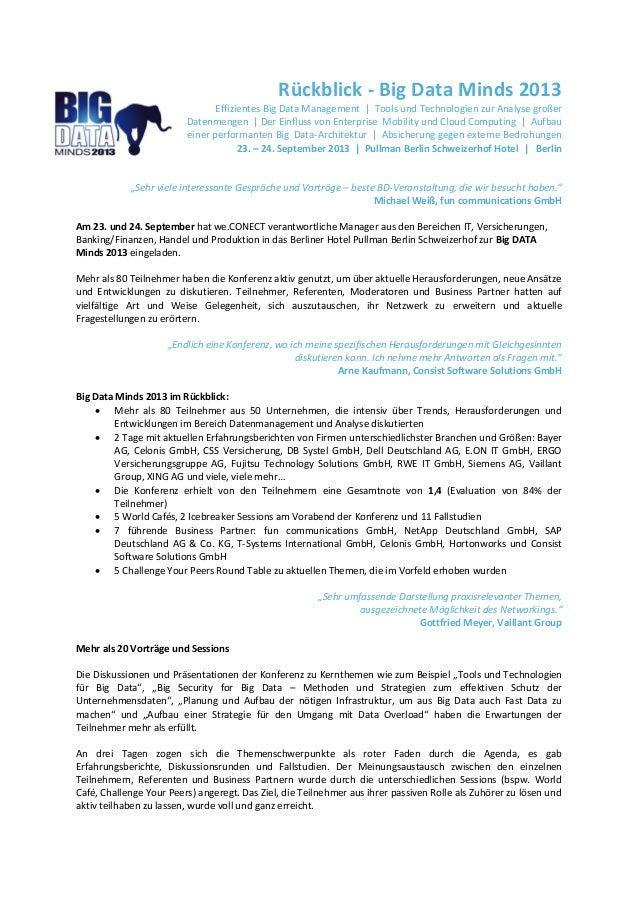 Rückblick - Big Data Minds 2013 Effizientes Big Data Management | Tools und Technologien zur Analyse großer Datenmengen | ...
