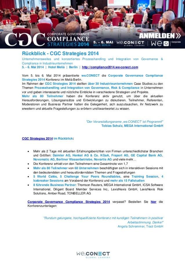 Rückblick - CGC Strategies 2014 Unternehmensweites und konzertiertes Prozesshandling und Integration von Governance & Comp...