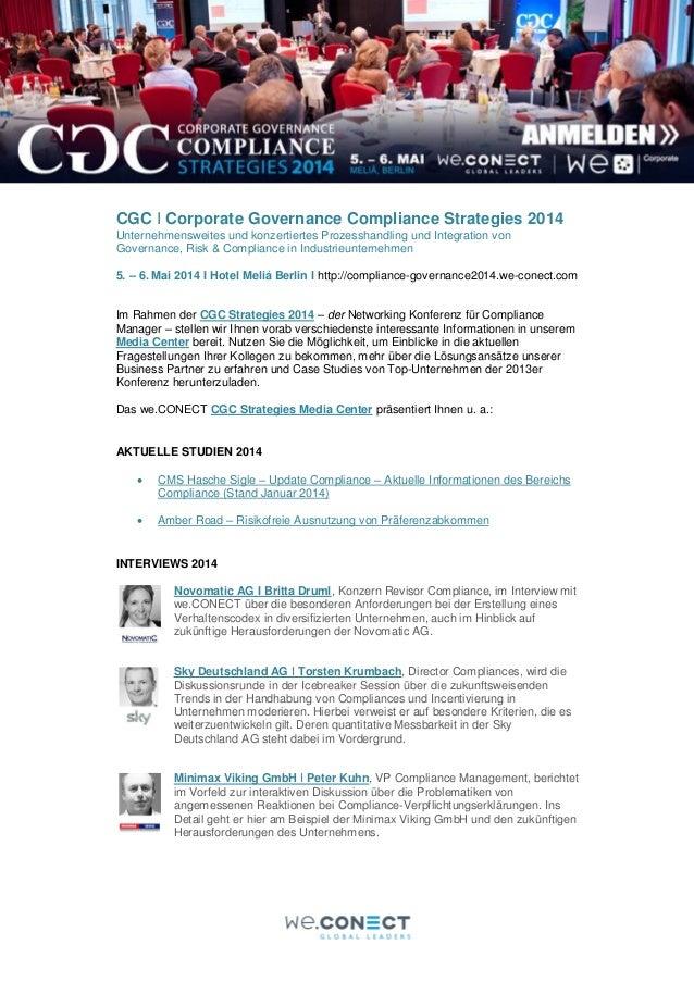 CGC I Corporate Governance Compliance Strategies 2014 Unternehmensweites und konzertiertes Prozesshandling und Integration...