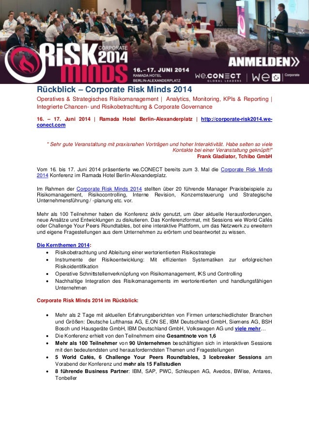 Rückblick – Corporate Risk Minds 2014 Operatives & Strategisches Risikomanagement   Analytics, Monitoring, KPIs & Reportin...