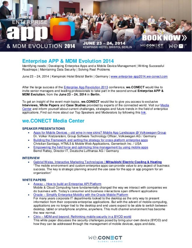 Enterprise APP & MDM Evolution 2014 Identifying needs | Developing Enterprise Apps and a Mobile Device Management | Writin...