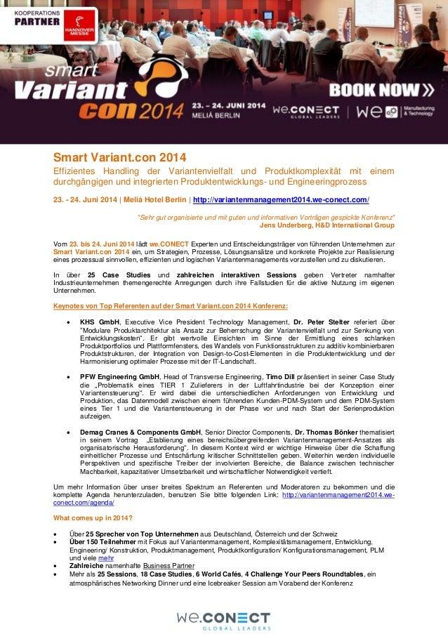 Smart Variant.con 2014 Effizientes Handling der Variantenvielfalt und Produktkomplexität mit einem durchgängigen und integ...