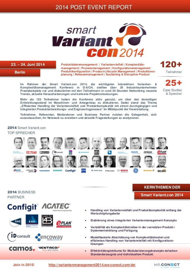 Join in 2015! http://variantenmanagement2014.we-conect.com/de/ 2014 Smart Variant.con TOP SPRECHER Berlin 2014 POST EVENT ...
