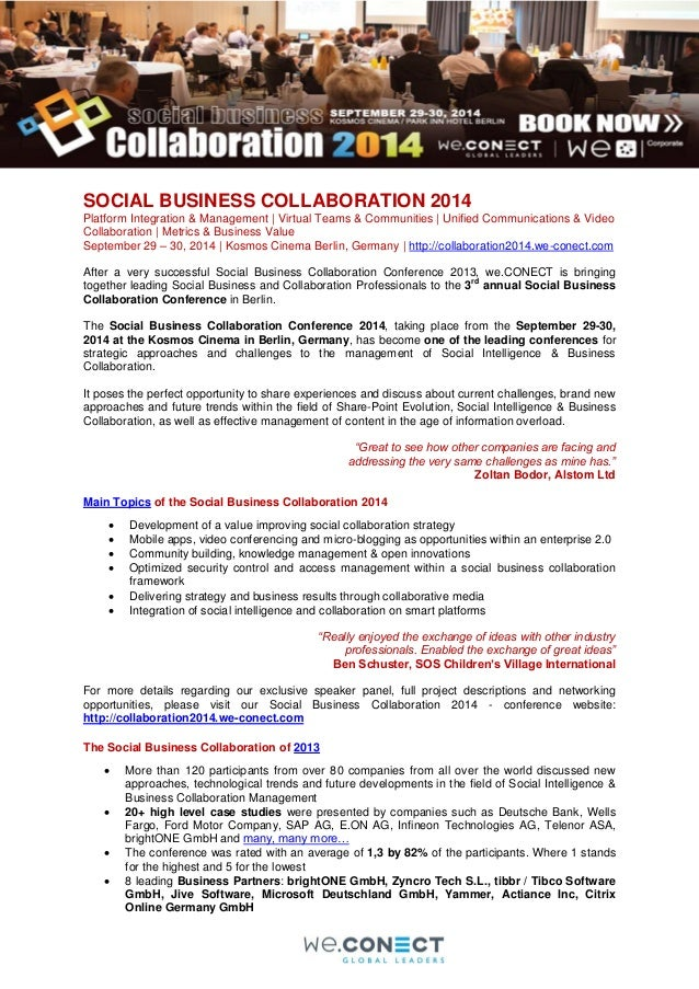 SOCIAL BUSINESS COLLABORATION 2014 Platform Integration & Management | Virtual Teams & Communities | Unified Communication...